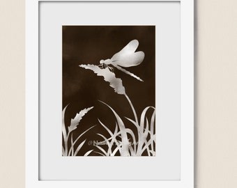 Earthy Brown Decor Dragonfly Art Print 5 x 7 Nature Wall Art, Natural Colors, Wheat Grass Tassels Dragonfly Wall Art (2)