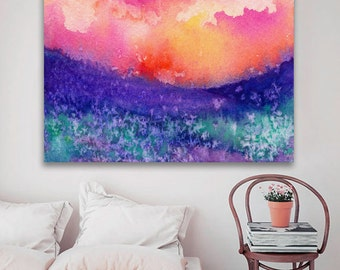 Watercolor Landscape Painting - Lupin Valley Landscape Scenic Art Print