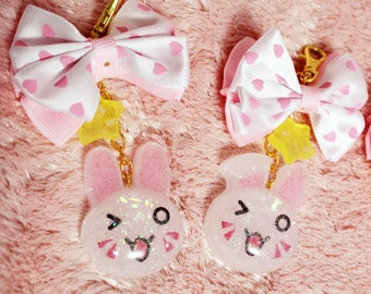Bunny OW Insipred Keychain or Charm - Handmade Resin Bunny Charm with Fabric Bow