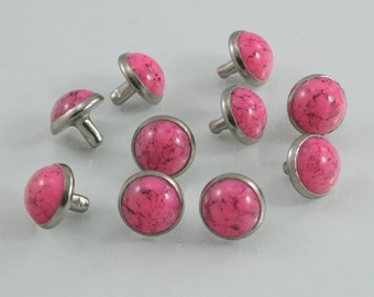Pink Turquoise Synthetic Rapid Rivet Decorative Rivets 11 mm. 100 sets.