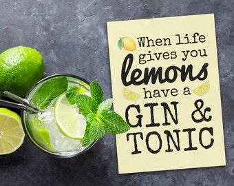 Carte de voeux - « Quand la vie donne citrons vous avez un gin & tonic »