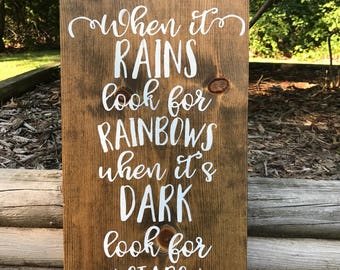 When it rains look for rainbows,inspirational,housewarming,gift idea,home decor,