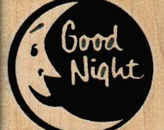 Good night moon rubber stamp scrapbooking supplies  no5720 wood mounted unmounted or cling stamp
