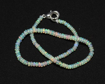 Natural OPAL Bracelet, Ethiopian Opal Beads, 2.5 - 3 mm size, Smooth Rondelle Beads, White Base Opal, Welo Opal Bracelet, Item No. 293