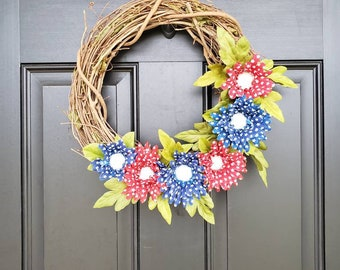 Patriotic Wreath | Red, White and Blue | Memorial Day | 4th of July | Stars and Stripes | Front Door Wreath | USA | America