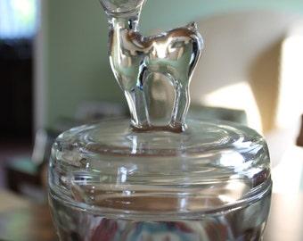 Sweet Jeannette Glass Bambi / Deer Powder Jar