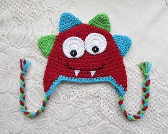 READY TO SHIP - 1 to 3 Year Size - Mr. Monster Crochet Hat - Red, Turquoise and Lime - Winter Hat or Photo Prop