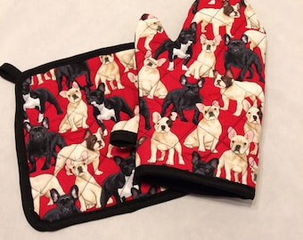 French bulldog insulated/quilted pot holder and oven mitt set/individual