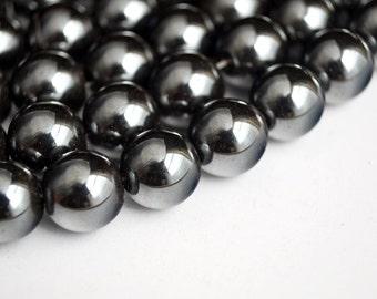 10 mm Hematite Beads, Smooth Round Gunmental Beads - Full Strand