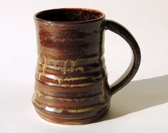 14 oz Mug Textured Ceramic Brown Mug Large