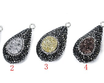 Lovely Bead Puffy Pave Teardrop with a Druzy Center Pendant  (19x36mm)