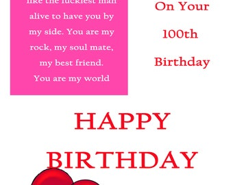 One I Love 100 Birthday Card with removable laminate