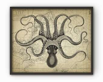Octopus Wall Art Poster - Octopus Ink Drawing Art Print - Octopus Drawing On Vintage Chart Print - Octopus Marine Biology - AB628