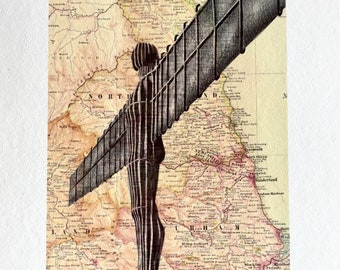 Angel of the North A4 print with border. Pen drawing of the landmark over map of North East England.