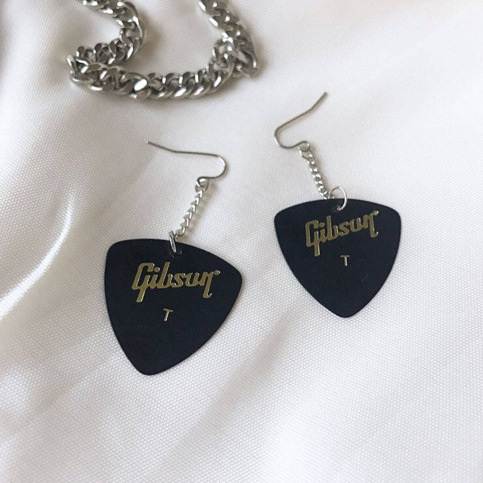 Black Guitar Pick Earrings Stainless Steel Hook