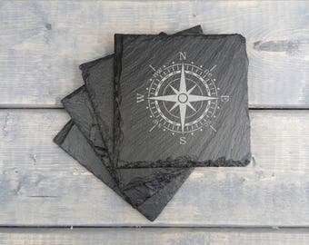 Compass Slate Coasters | Nautical Compass | Boat | Ocean | Slate Coasters | Compass | Nautical | Coasters | Set of 4 | FREE SHIPPING