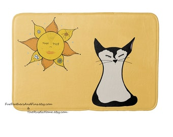 Siamese kitty cat plush rug sunshine bath mat kitchen mat memory foam rug plush choose your colors cat lover cat mom namaste cat bedding mat