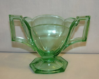 Green Glass SUGAR BOWL