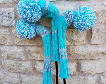 Retro Hand Knit Golf Club Head Covers Set of 3 Aqua Gray and White with Pom Poms