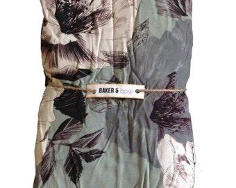 baker&bow large flower print sage green + neutrals digital overlay print fabric end SAMPLE