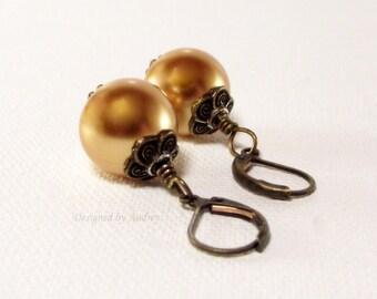 Earrings - Gold Pearl Vintage Styled Drop Earrings