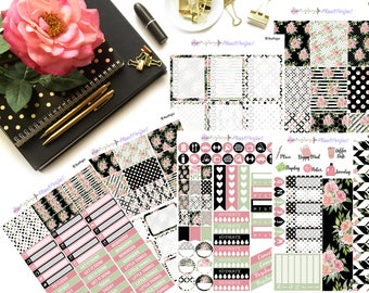 Black Floral Weekly Sticker Kit// VERTICAL Weekly Kit for Erin Condren// 6 sheets of planner stickers