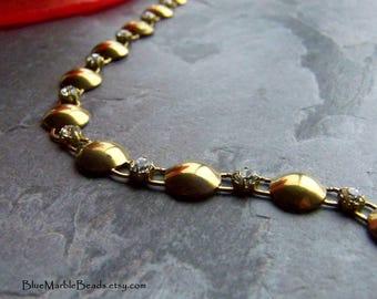 Swarovski Chain, Rare Swarovski, Vintage Chain, Rhinestone Chain, Brass Chain, Circle Chain, Link Chain, Boho Chain, By The Foot, 1 Foot