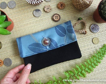 Gift For Her - Coin Purse in Blue Japanese Fabric Black - For Cards, Coins and Small Essential