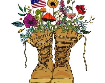 Military art print wall art illustration design 11x14 print artwork veteran army navy air-force soldier warrior commemorative art