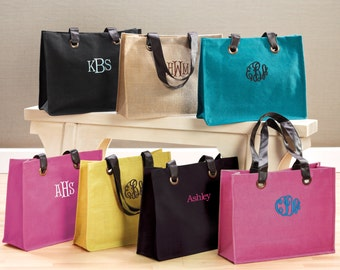 Colorful Jute Totes in 4 Colors (c258-1135) - Free Personalization
