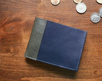Mens Leather Coin Pocket Wallet, Bifold Minimalist Guy Card Cash Wallet, Slim Classic Cool Style for Gents - The Frankie Wallet in Navy Blue