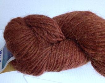 Llama Wool Destash, Vintage Yarn Destash, Monteza Wool, Deep Russett Brown Orange SUPER Soft Wool Blend Yarn Skein Hank Made in Peru