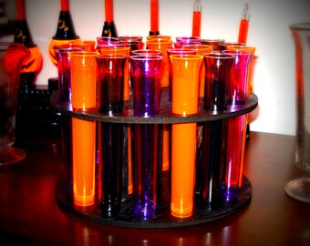 Plastic Test Tubes and Wood Holder Mad Scientist  Halloween Shot glasses