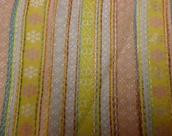 yellow and salmon stripes and flowers fashion fabric