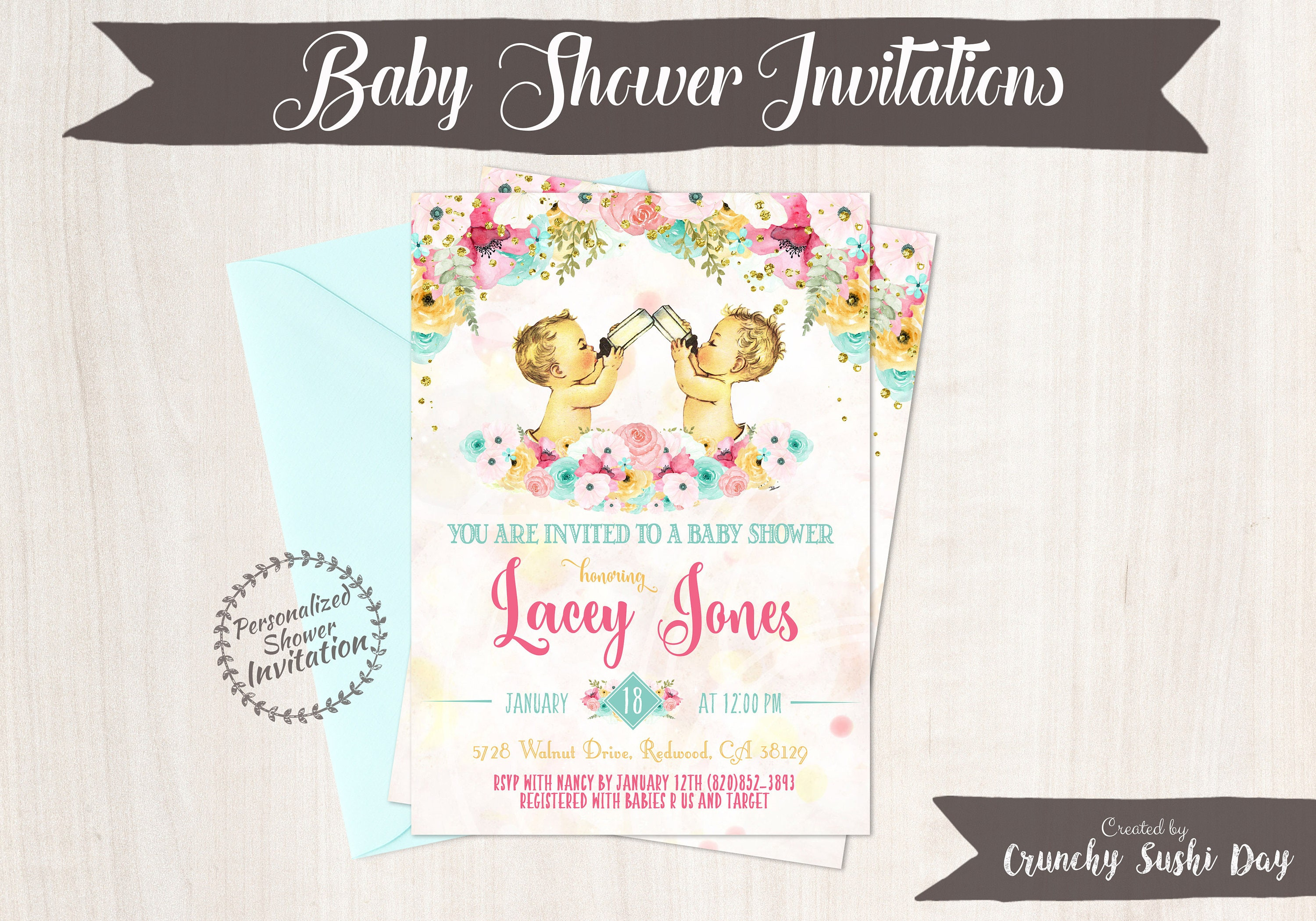 Twin Boys, Vintage Baby Boy Baby Shower Invitations, Baby Shower ...