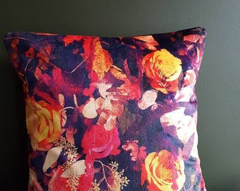 Sumptuous velvet floral cushion / decorative pillow  in stunning reds and oranges.