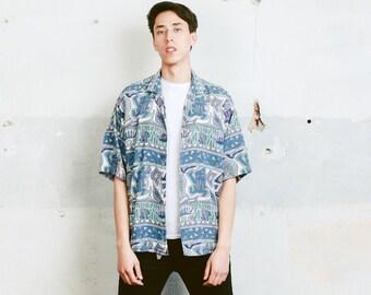 Yashi Yamamuri Summer Shirt . 90s Vintage Men's Short Sleeve Abstract Print Patterned 90s Shirt Vacation Shirt . size Large L