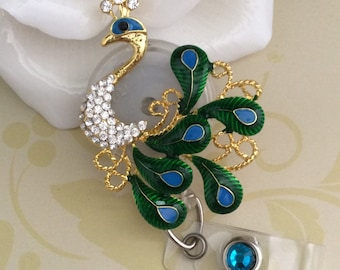 Rhinestone Peacock 2 Retractable ID Badge Reel, Nurse Badge Reel