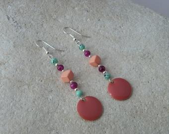 Sequin pink enamel earrings *.