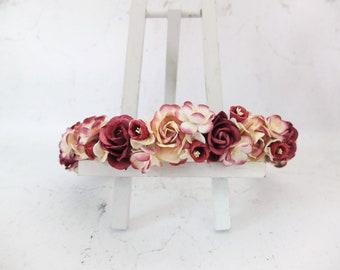 Red burgundy wedding flower crown - rose crown - floral hair wreath - flower headpiece bridal girl
