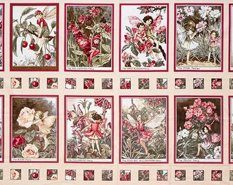Blossom Fairies Panels. Flower Fairy fabric by Cicely Mary Barker. SK076