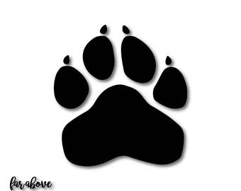 Paw Print Team Panthers Wildcats Wolverines Bulldogs Tigers Cougar Cats Lions SVG, EPS, dxf, png, jpg digital cut file Silhouette or Cricut