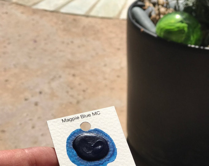 Dot Card Handmade Watercolor Paint Magpie Blue MC