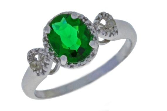 Elizabeth Jewelry 1 Ct Emerald Heart Ring .925 Sterling Silver Rhodium Finish tXiOj0ojt