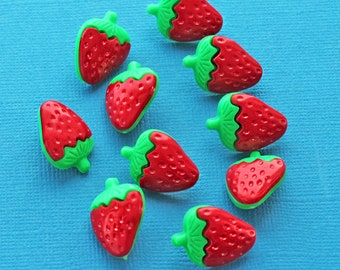 20 Strawberry Buttons Colorful Assorted Resin Shank Buttons - BUT315