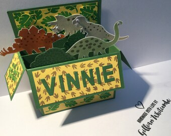 Pop up birthday card with dinosaurs