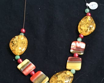 Outshine the Sun - Gold and Orange Beaded Necklace