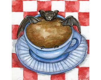 Bat in my Coffee Print
