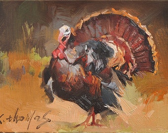 Western rooster Animal Painting Turkey chicken Original oil Painting  on canvas panel 12CMX18CM