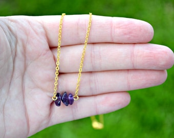 Amethyst Necklace Dainty Amethyst Crystal Gold Necklace February Birthstone Necklace Healing Crystal Jewelry Bridesmaid Necklace